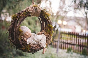 Image of Hand Harvested Grape Vine & Organic Moss, Woodsy Newborn Hammock/Dream Catcher