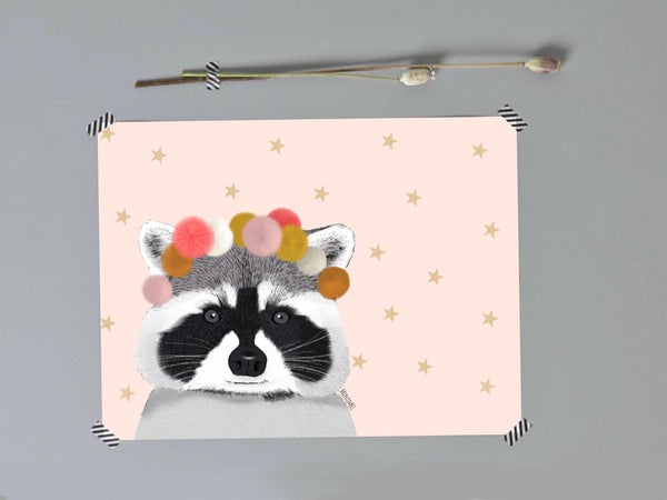 """Image of Affiche A4 «Pink raccoon and pompons"""""""