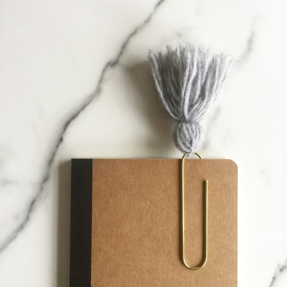 Image of grey tassel paperclip bookmark