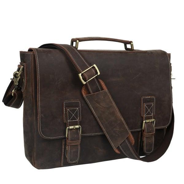 """Image of Men's Handmade Vintage Leather Briefcase / Messenger / 17"""" MacBook Pro 16"""" Laptop Bag (n14L)"""