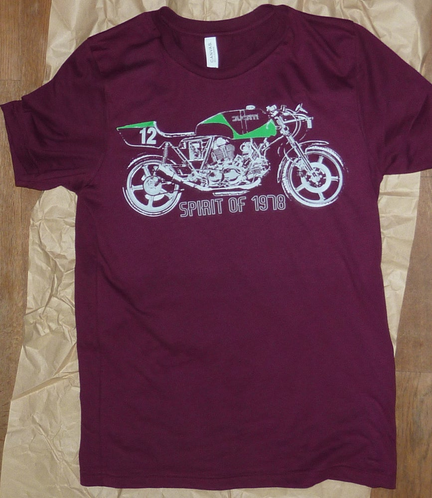 Image of Ducati Spirit of 1978 t shirt (maroon) + free UK postage!