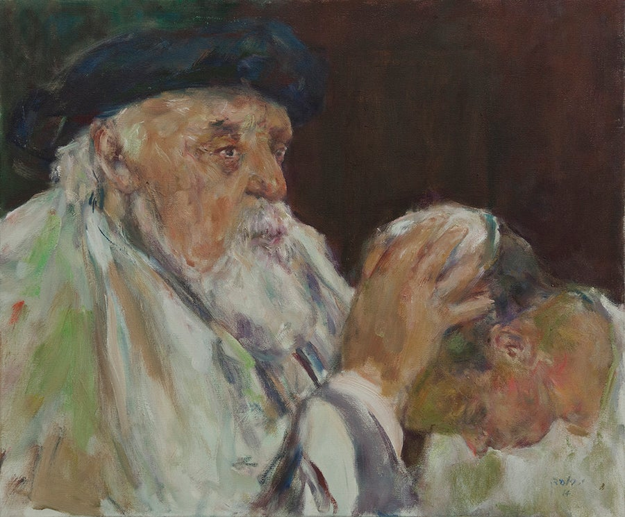Image of Professor Feuerstein blessing his grandson Hillel
