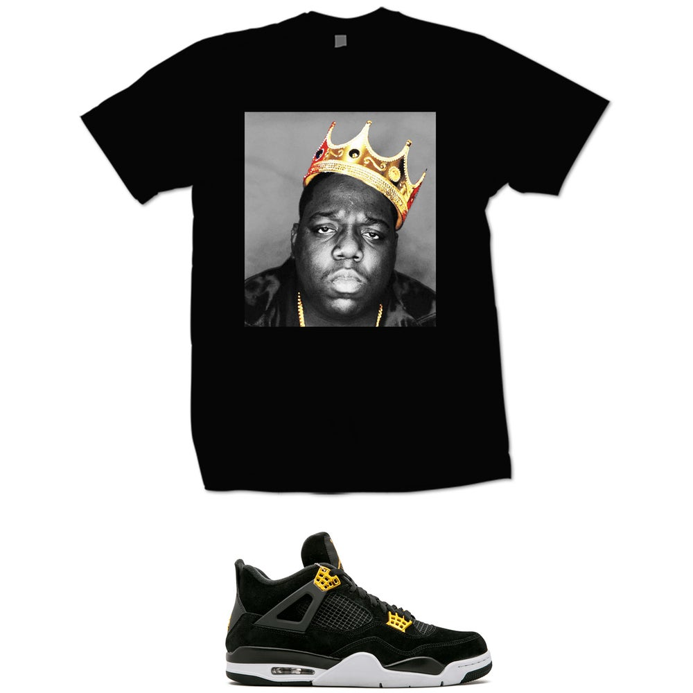 Image of BIGGIE GOLD CROWN RETRO 4 ROYALTY T SHIRT - BLACK