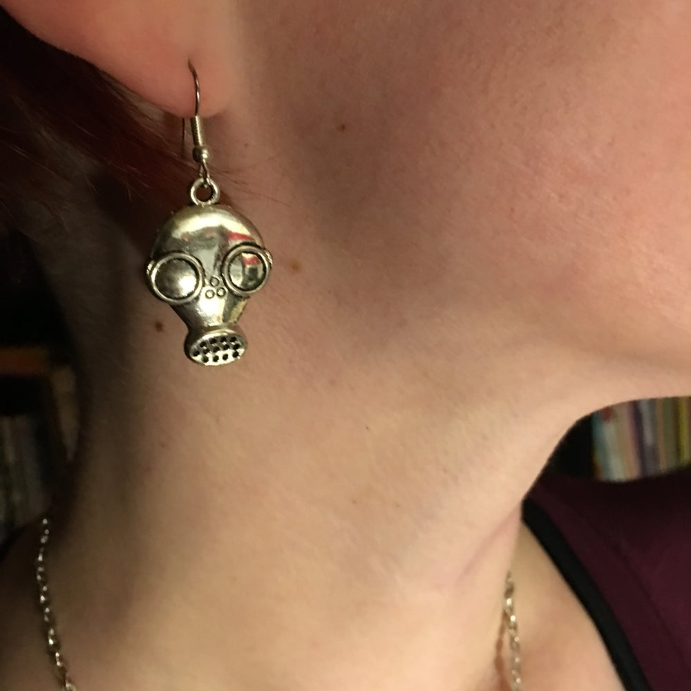 Image of Silver Gas Mask Earrings