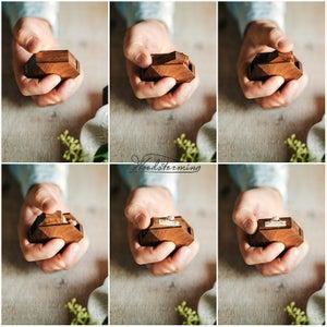 Image of Diamond shape mahogany wood ring box by Woodstorming