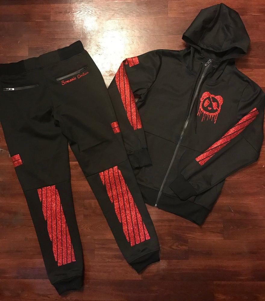 Image of Blk/Red Panda Stripe Tech Suit (Men/Woman)