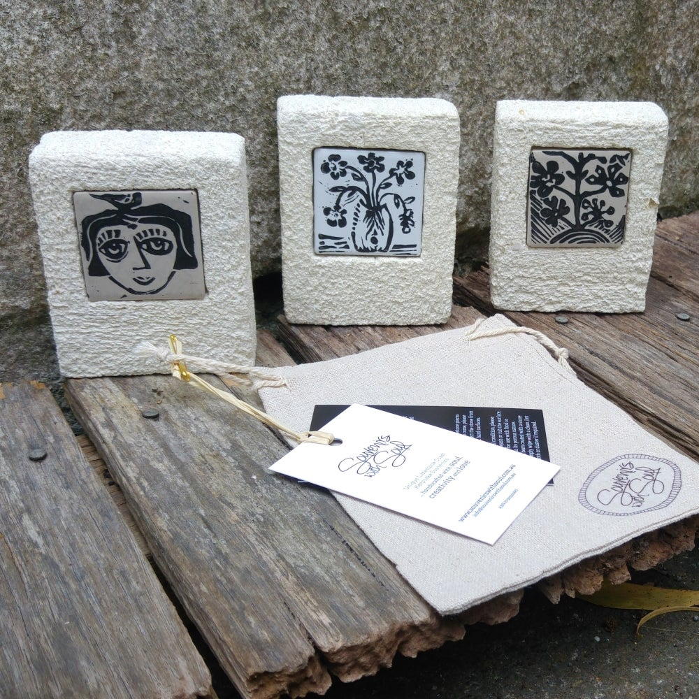 Image of Lino Printed Tile inset into Limestone block Frame