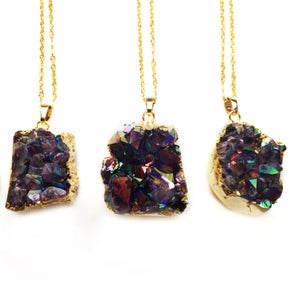 Image of Aura Amethyst Cluster Necklace