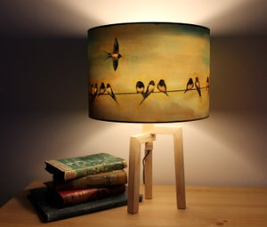 Image of 'Swallows' Drum Lampshade by Lily Greenwood (30cm, Table Lamp or Ceiling)