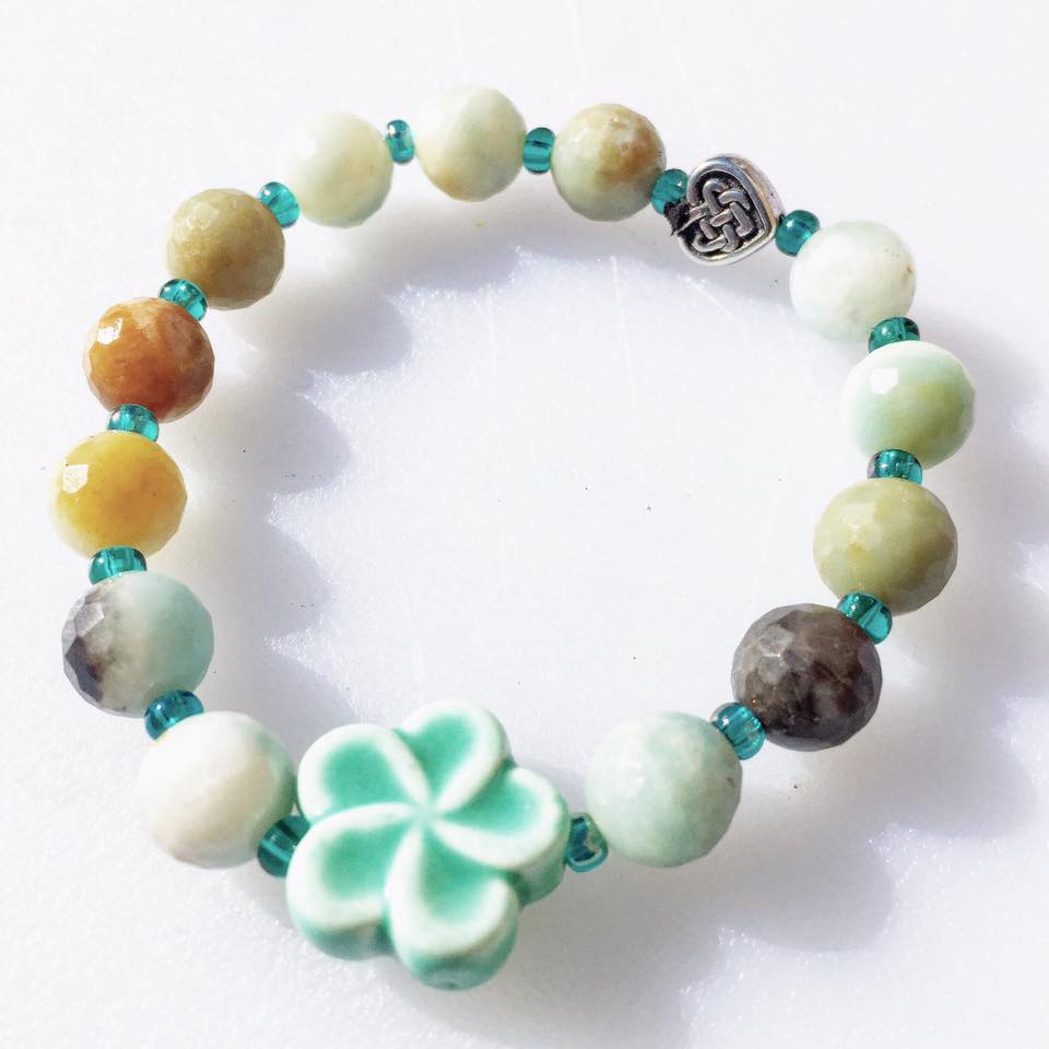 Image of Irish Pottery with Amazonite and Celtic Bead