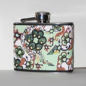Image of Daydream Doodles - Green & Coral - Stainless Steel Flask 4 oz