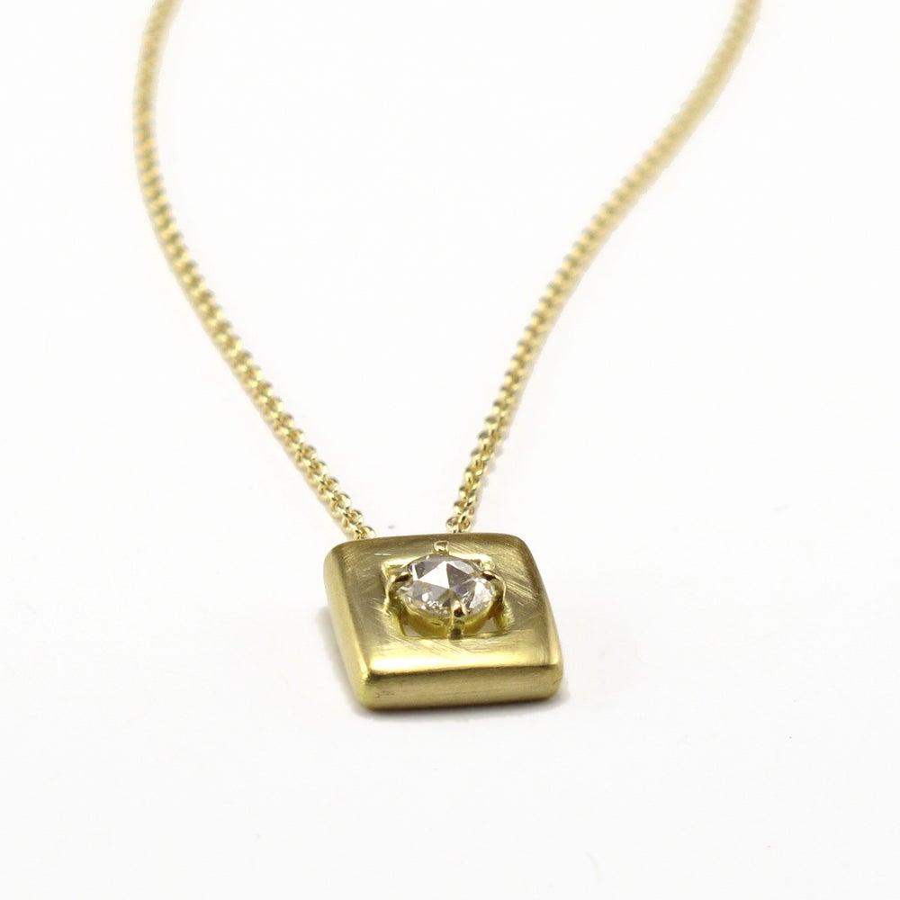 Image of Soft Square Pendant Rosecut Diamond Solitaire