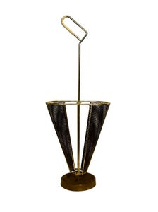 Image of Umbrella Stand of Perforated Metal and Brass Trim, 1950s
