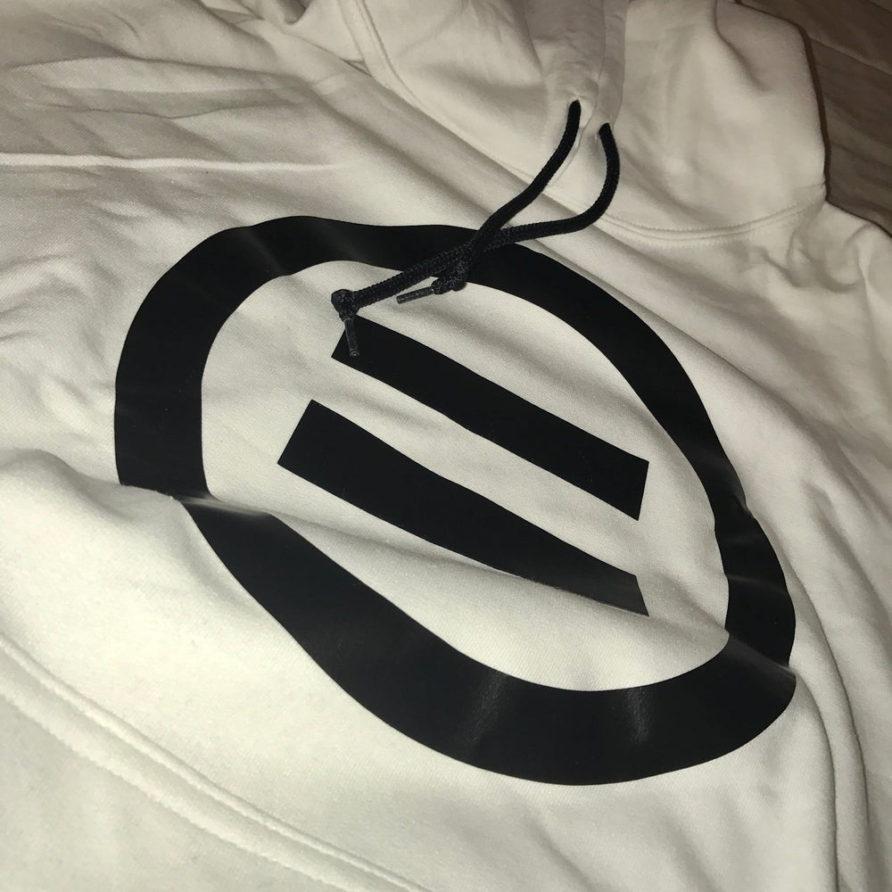 Image of Signature Equal Logo Hoodie in White/Black Logo