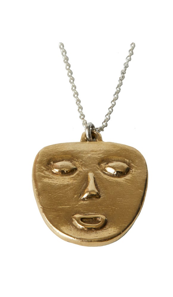 Image of Mask Necklace brass