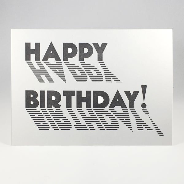 Image of HAPPY BIRTHDAY! (black and white stripes)
