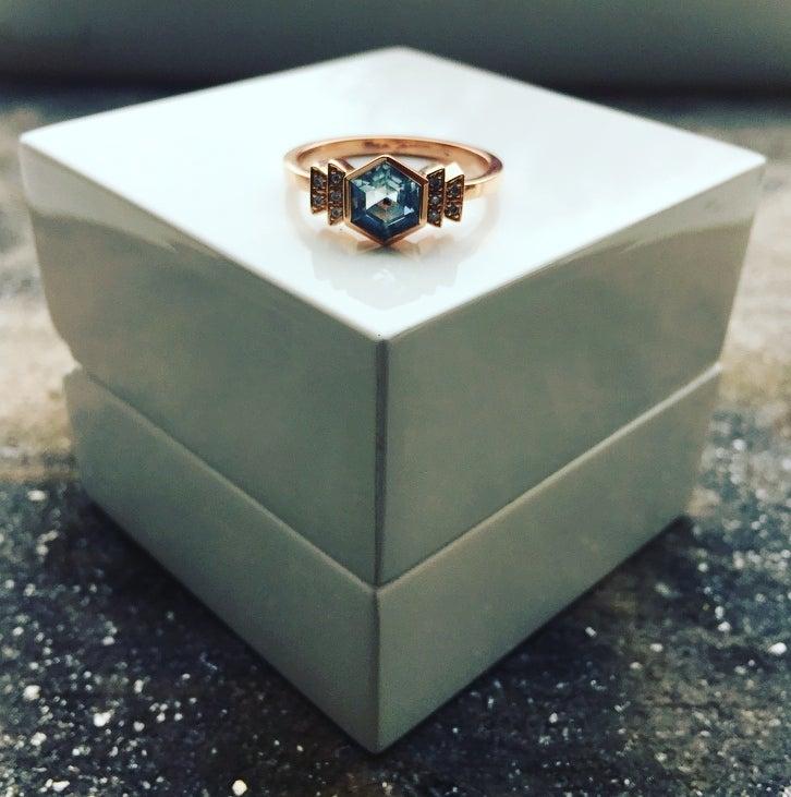 Image of 9ct Rose Gold Aquamarine and Diamond Art Deco Style Ring