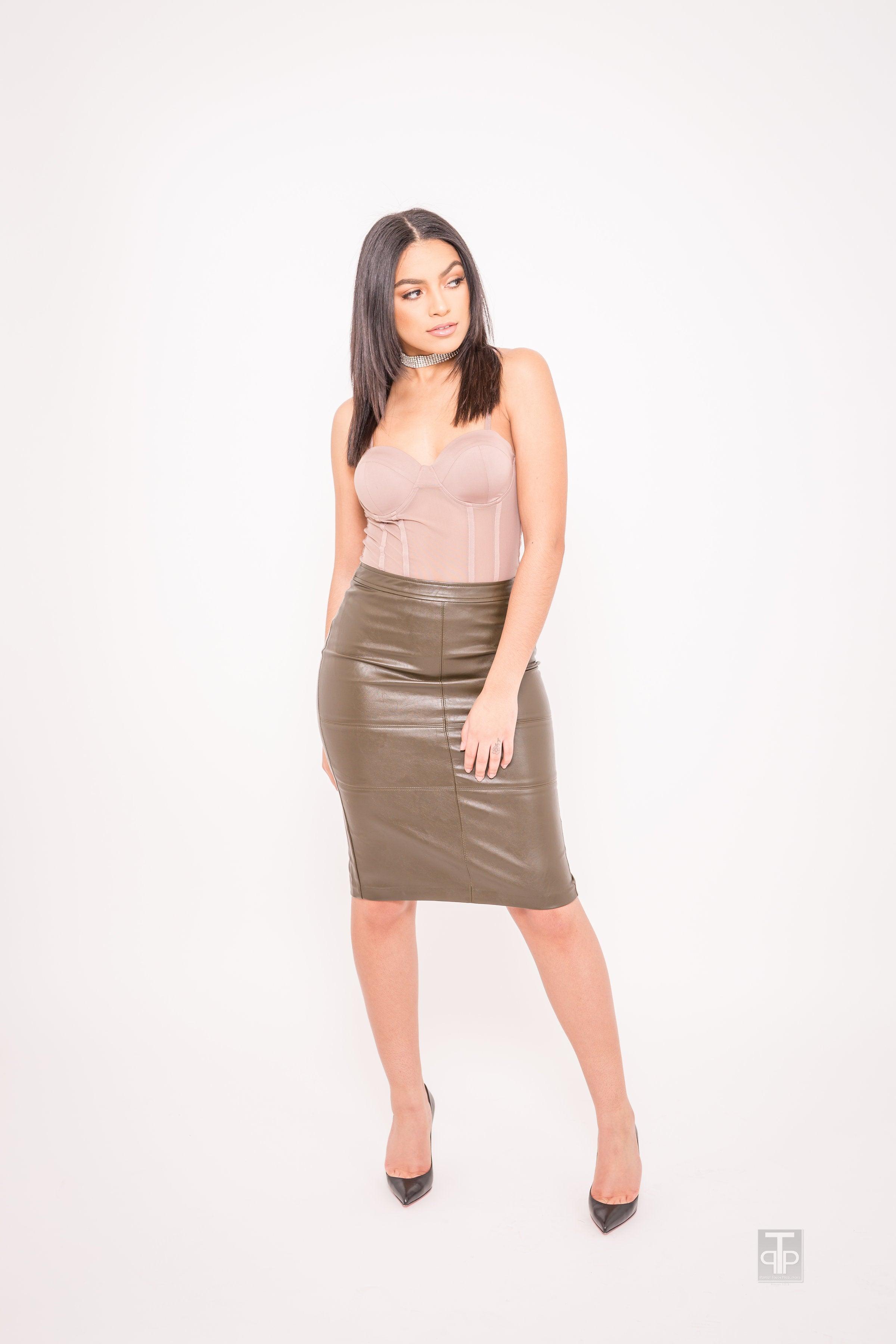 Kellie Maxx — Olive Green Leather Skirt
