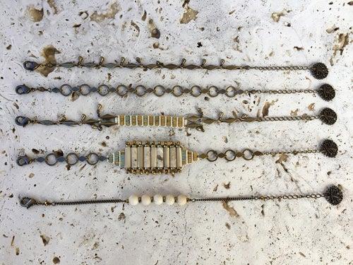 Image of Bracelet tissé tubes nacre wild