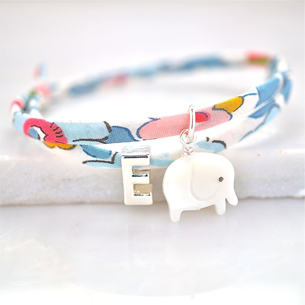 Image of Liberty print bracelet with elephant and letter