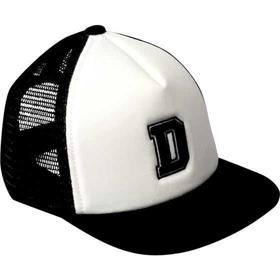 Image of Black Alphabet Trucker Hat - D