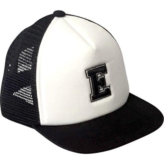 Image of Black Alphabet Trucker Hat - E