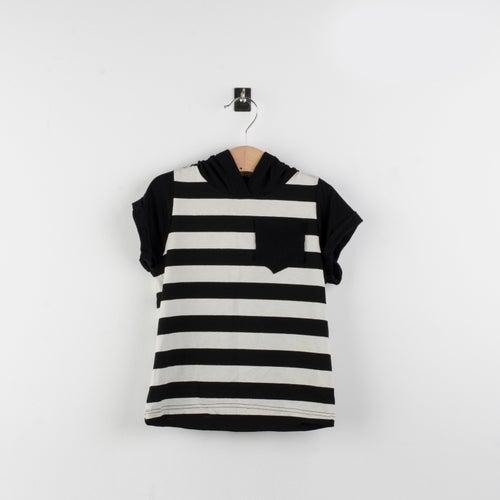 Image of Camiseta manga corta en rayas con capucha dragon/striped short sleeves hoodie dragon t-shirt