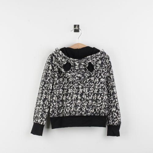 Image of Sudadera jacquard blanco y negro tipo leopardo/Jacquard fleece jacket black and white