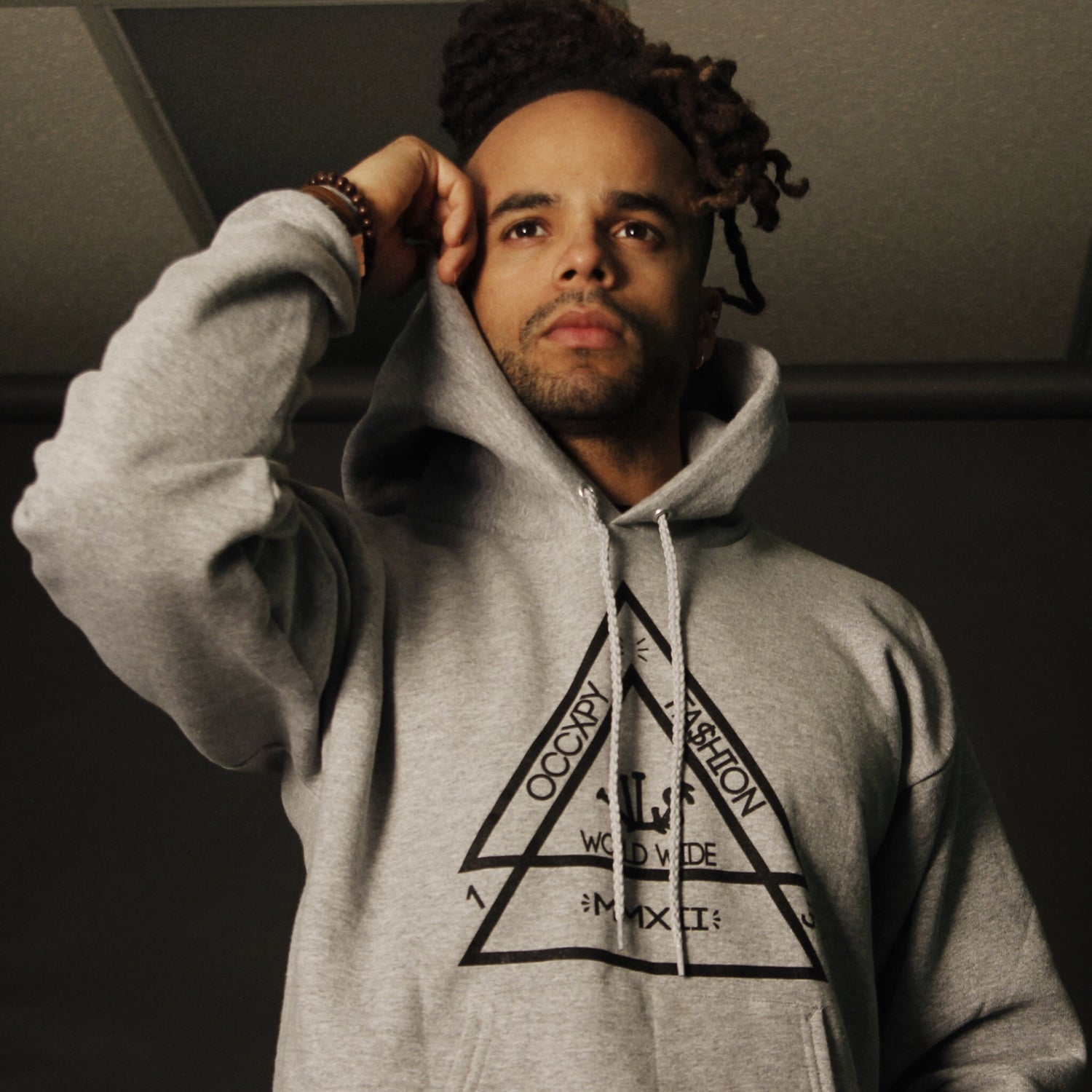 Image of Grey/Black VL$ Double Pyramid Hoodie