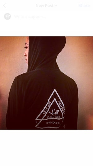 Image of Black/White VL$ Double Pyramid Zip Up Hoodie