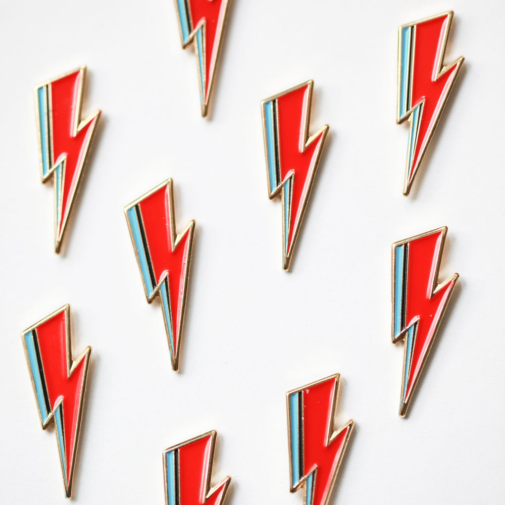 Image of Gold Bowie Bolt Enamel Pin