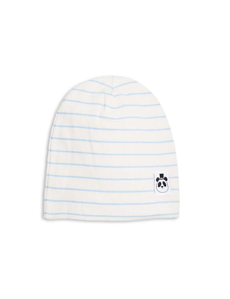 Image of Stripe rib beanie, light blue, Mini Rodini