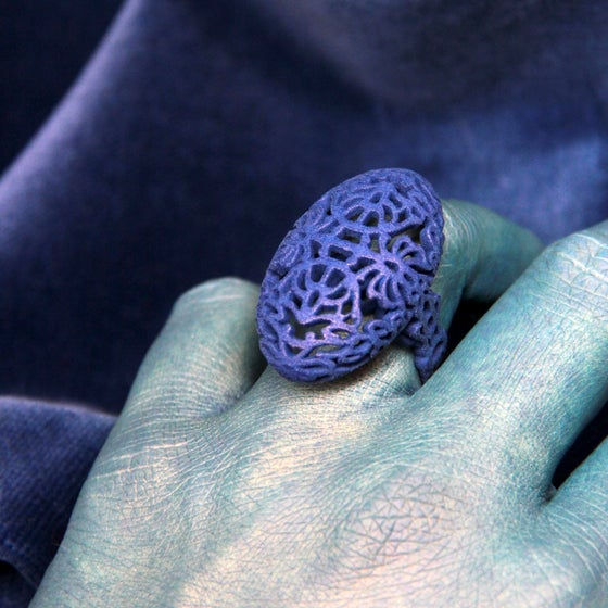 Image of 3D printed ring OVAL 2.floral