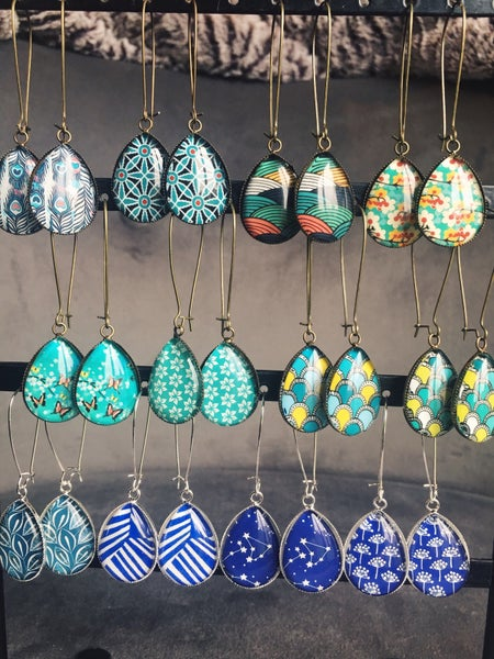 Image of Boucles goutte blue green