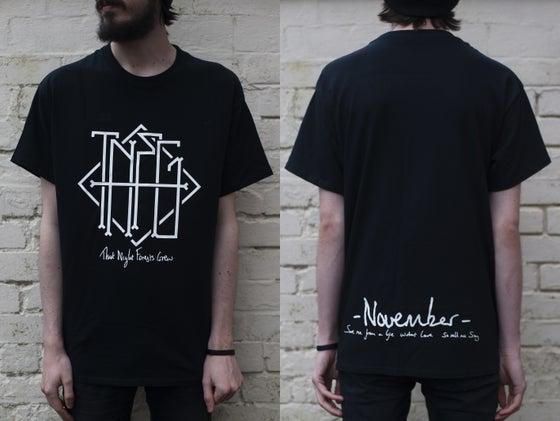 "Image of ""November"" Haiku Pocket/Back Print T-Shirt (Black) - Limited to 15"