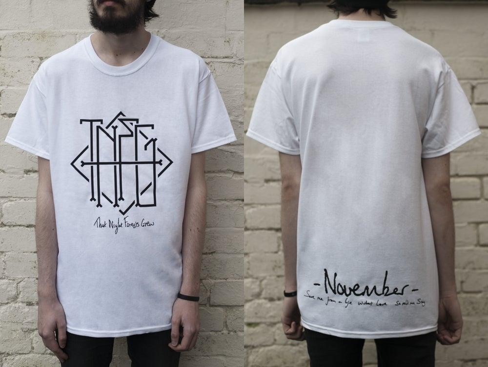 "Image of ""November"" Haiku Pocket/Back Print T-Shirt (White) - Limited to 15"