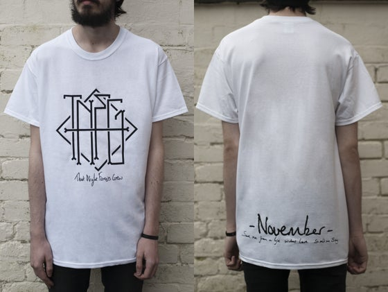 "Image of ""November"" Haiku Pocket/Back Print T-Shirt (White) - Limited to 15"
