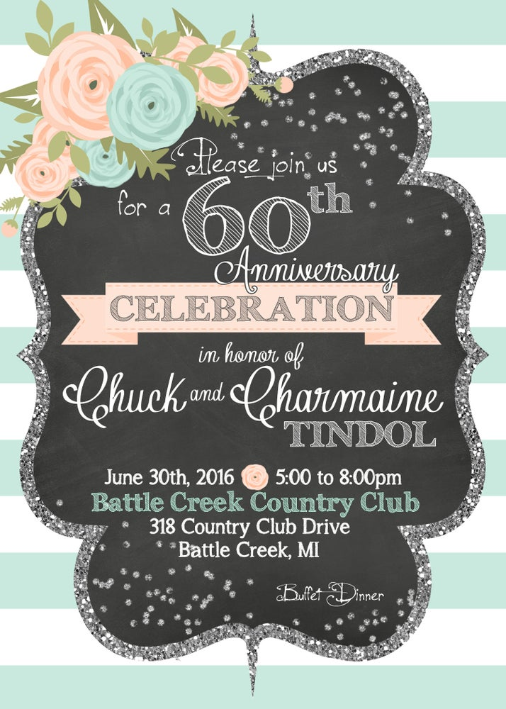 Image of Mint, Peach & Silver Glitter Anniversary Celebration Invitation