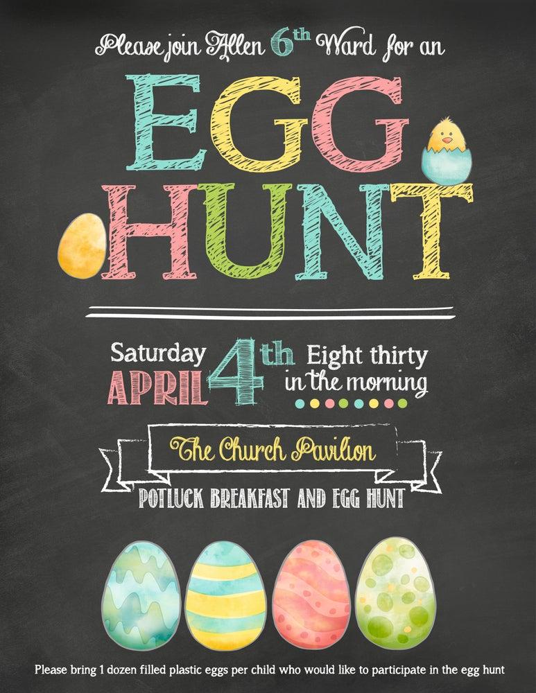 Image of Easter Egg Hunt - Chalkboard- Flyer- Sign- Announcement