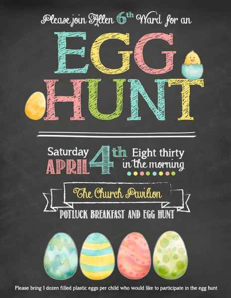 Image of Easter Egg Hunt - Chalkboard- Flyer- Sign- Announcement