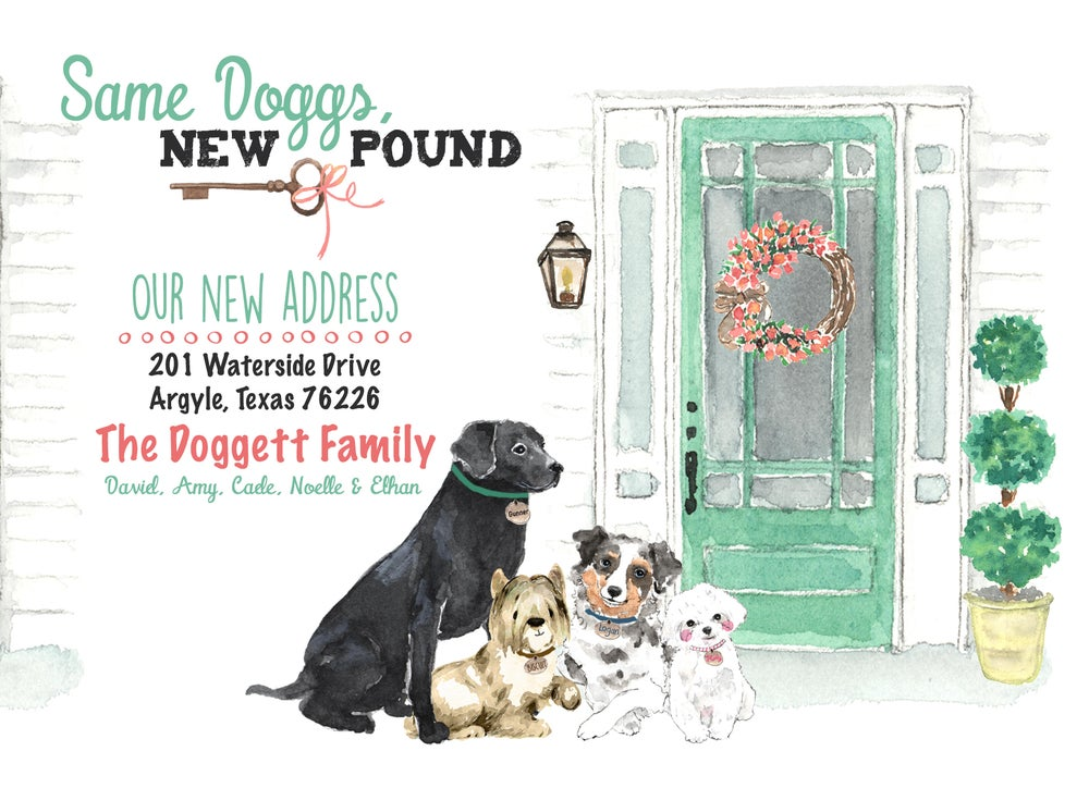 Image of New Home - Change of Address Card- Pets- Dogs- Puppies