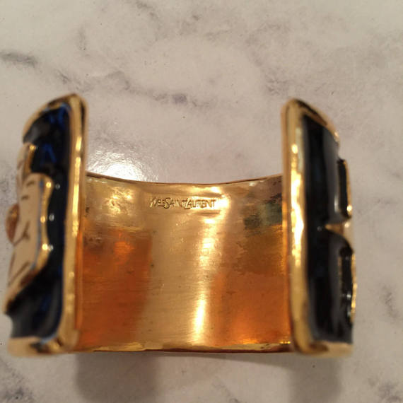 Image of SOLD Yves Saint Laurent - YSL Ycon Vintage Cuff Bracelet - Near New Condition