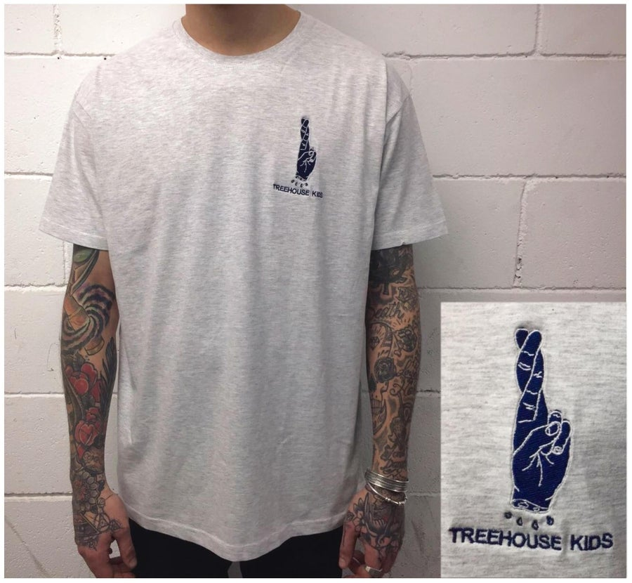Image of EMBROIDERED HAND ON ASH GRAY TEE