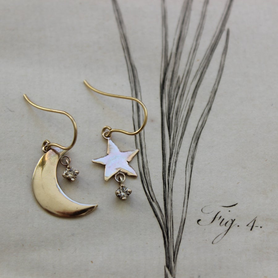 Image of gold moon & star earrings with champagne diamonds