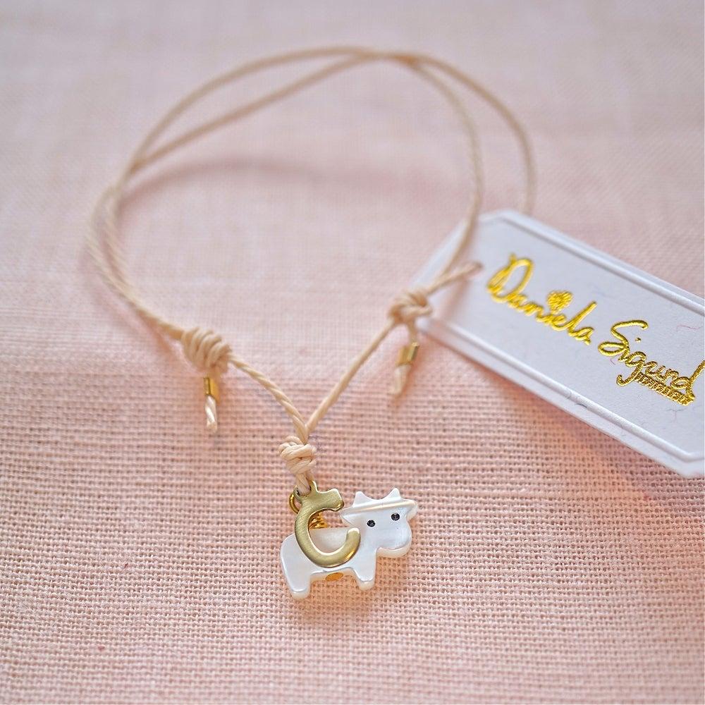 Image of Cow bracelet,personalised friendship bracelet ,mother of pearl bracelet ,gift for animal lover