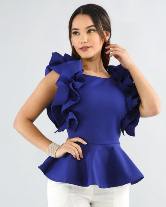 Image of Side ruffled peplum top