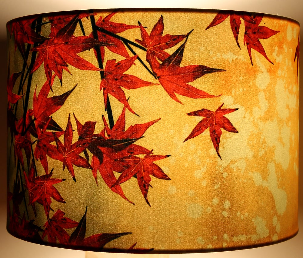 Image of 'Japanese Maple' Drum Lampshade by Lily Greenwood