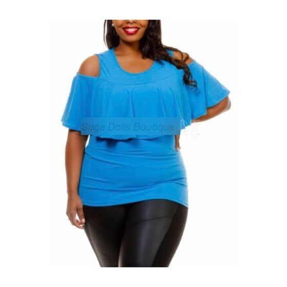 Image of Jen Cold Shoulder Ruffle Top-Curvy
