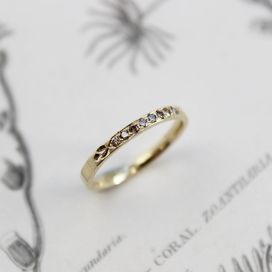 Image of 18ct gold champagne diamond set ring