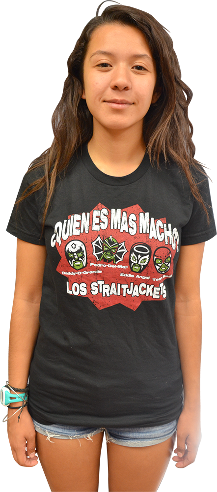 "Image of LOS STRAITJACKETS ""MAS MACHO"" LADIES SHIRT"